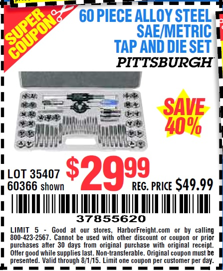 Harbor Freight Tools Coupon Database Free Coupons 25 Percent Off Coupons Toolbox Coupons 60 Piece Sae And Metric Tap And Die Set