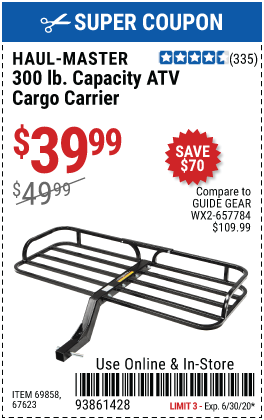 Harbor Freight Tools Coupon Database Free Coupons 25 Percent Off Coupons Toolbox Coupons 300 Lb Capacity Atv Cargo Carrier