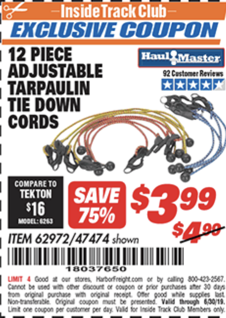 Harbor Freight 12 PIECE ADJUSTABLE TARPAULIN TIE DOWN CORDS coupon