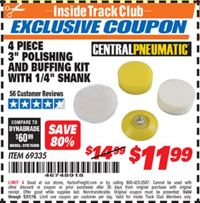 "www.hfqpdb.com - 4 PIECE, 3"" POLISHING AND BUFFING KIT WITH 1/4"" SHANK Lot No. 69335"