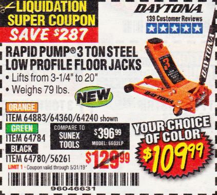 Harbor Freight Daytona Floor Jack Coupon