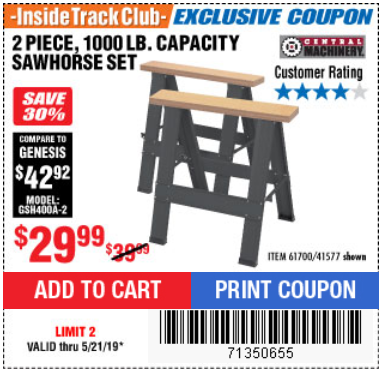 Harbor Freight TWO PIECE FOLDABLE SAW HORSE SET coupon