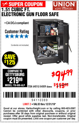 Harbor Freight 1.51 CUBIC FT. LOCK GUN FLOOR SAFE coupon