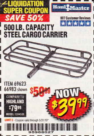 Harbor Freight 500 LB. CAPACITY DELUXE STEEL CARGO CARRIER coupon