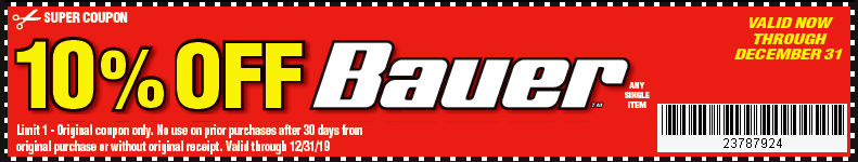 Harbor Freight ANY BAUER coupon