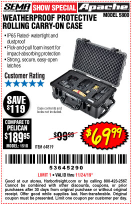 Harbor Freight APACHE 5800 ROLLER CARRY ON CASE coupon