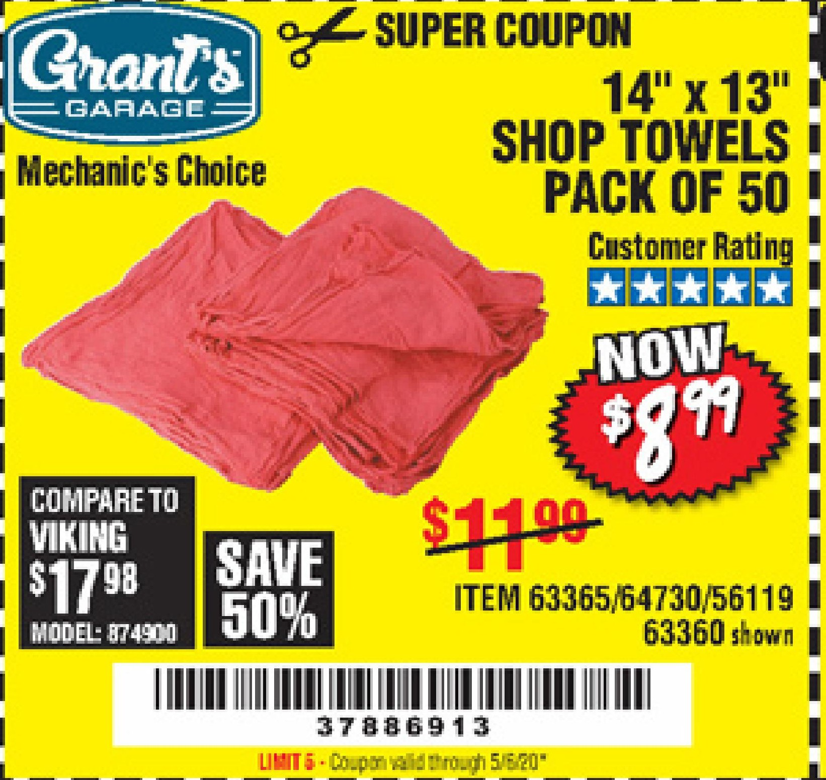 Harbor Freight MECHANICS SHOP TOWELS coupon