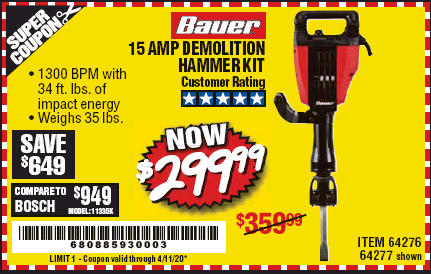 Harbor Freight BAUER 15AMP PRO DEMOLITION HAMMER KIT coupon