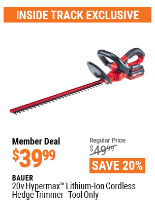 "www.hfqpdb.com - BAUER 20 VOLT LITHIUM CORDLESS 20"" HEDGE TRIMMER Lot No. 64941"