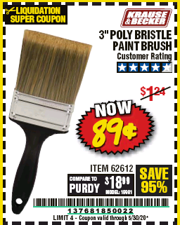 "www.hfqpdb.com - 3"" POLY BRISTLE PAINT BRUSH Lot No. 39688/62612"