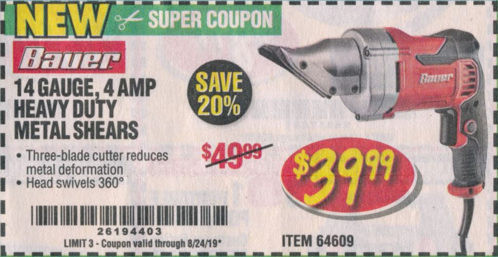 Harbor Freight BAUER 14 GAUGE, 5 AMP SWIVEL HEAD SHEARS coupon