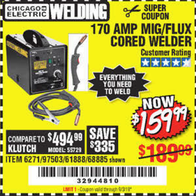 Harbor Freight 170 AM MIG/FLUX CORED WELDER coupon
