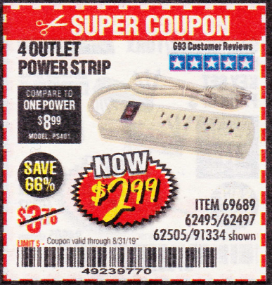 Harbor Freight 4 OUTLET POWER STRIP coupon