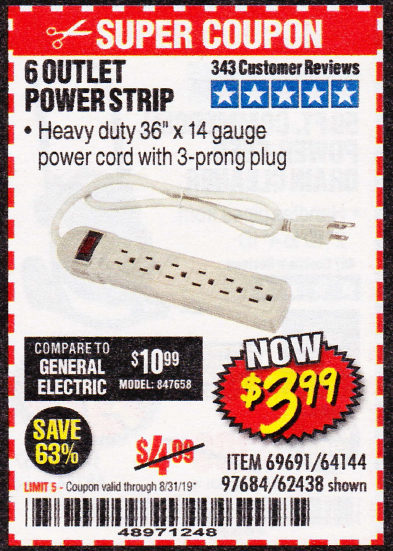 Harbor Freight 6 OUTLET POWER STRIP coupon
