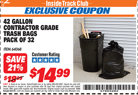 Harbor Freight 24 GALLON CONTRACTOR GRADE TRASH BAGS PACK OF 32 coupon
