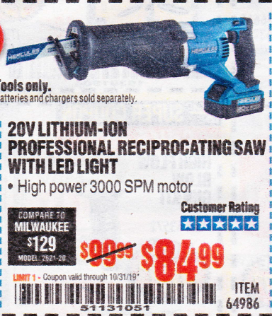Harbor Freight HERCULES 20V PROFESSIONAL LITHIUM ION CORDLESS RECIPROCATING SAW coupon
