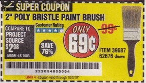 "www.hfqpdb.com - 2"" POLY BRISTLE PAINT BRUSH Lot No. 39687"
