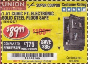 Harbor Freight 1.51 CUBIC FT. ELECTRONIC SOLID STEEL FLOOR SAFE coupon