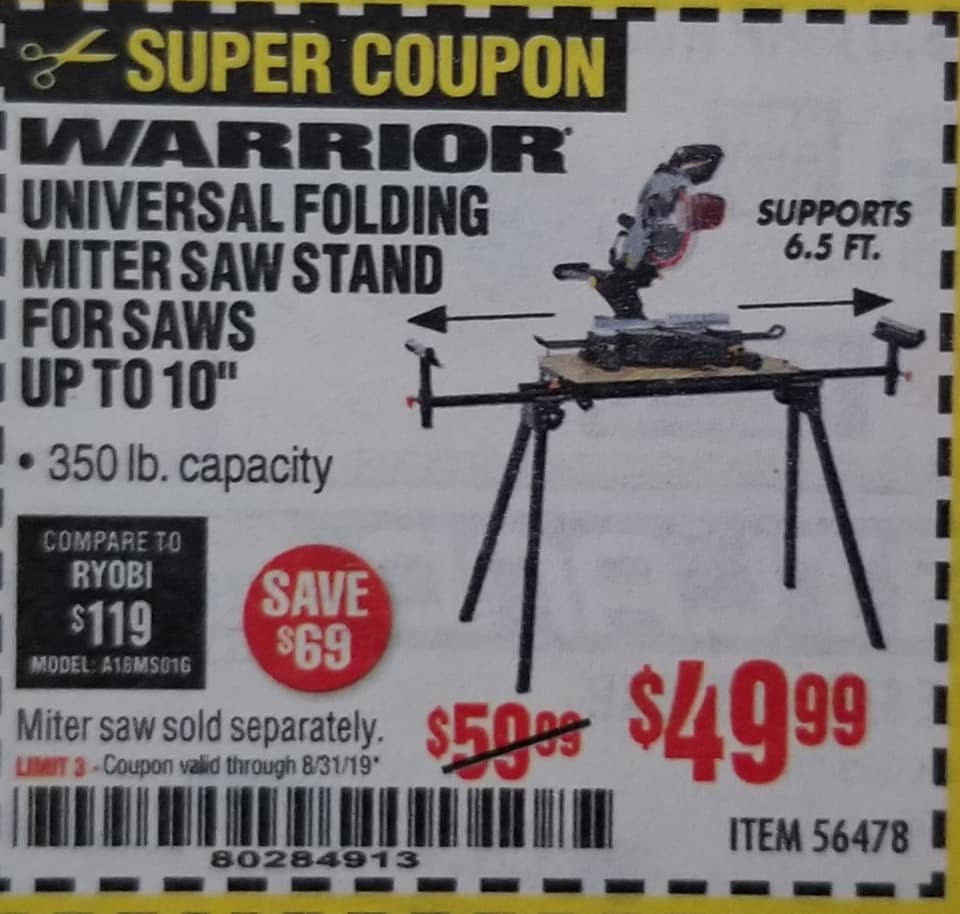 "www.hfqpdb.com - WARRIOR UNIVERSAL FOLDING MITER SAW STAND FOR SAWS PUT O 10"" Lot No. 56478"