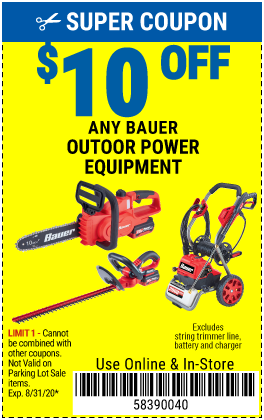 www.hfqpdb.com - $10 OFF ANY BAUER OUTDOOR TOOL Lot No. 64941,64996,64995,64940,64942