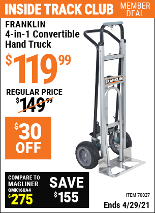 www.hfqpdb.com - FRANKLIN 4-IN-1 CONVERTIBLE HAND TRUCK Lot No. 70027