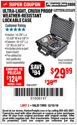 Harbor Freight 25PCT OFF ANY APACHE CASE coupon