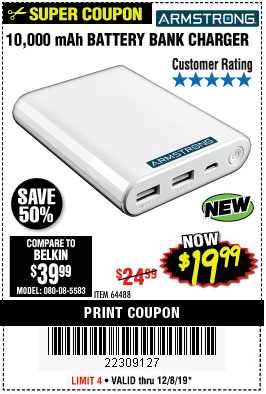 Harbor Freight 10,000 MAH BATTERY BANK CHARGER coupon