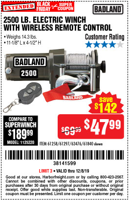 Harbor Freight 2500 LB ELECTRIC WINCH WITH WIRELESS REMOTE CONTROL coupon