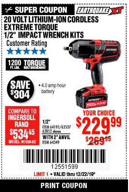 www.hfqpdb.com - EARTHQUAKE XT 20 VOLT LITHIUM CORDLESS EXTREME TORQUE IMPACT WRENCH KITS Lot No. 63537/64195/63852/64349
