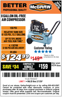 Harbor Freight MCGRAW 8 GALLON OIL-FREE AIR COMPRESSOR coupon
