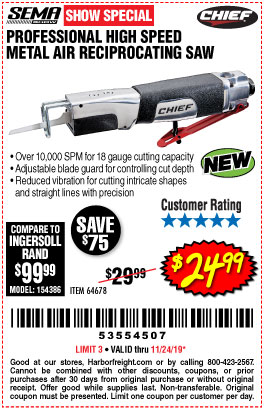 Harbor Freight PROFESSIONAL HIGH SPEED METAL AIR RECIPROCATING SAW coupon