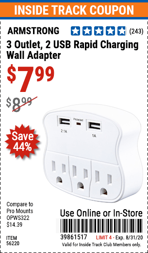 www.hfqpdb.com - 3 OUTLET 2 USB WALL ADAPTER Lot No. 56220