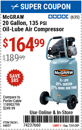 Harbor Freight 20 GALLON 1.6 HOW 135 PSI OIL LUBE VERTICAL AIR COMPRESSOR coupon