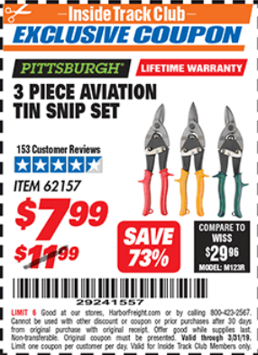 Harbor Freight 3 PIECE AVIATION TIN SNIP SET coupon