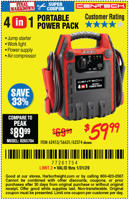 Harbor Freight 4 IN ONE PORTABLE POWER PACK coupon