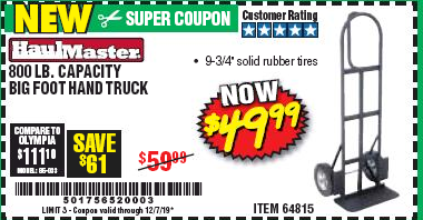 Harbor Freight 800 LB. CAPACITY BIG FOOT HAND TRUCK coupon