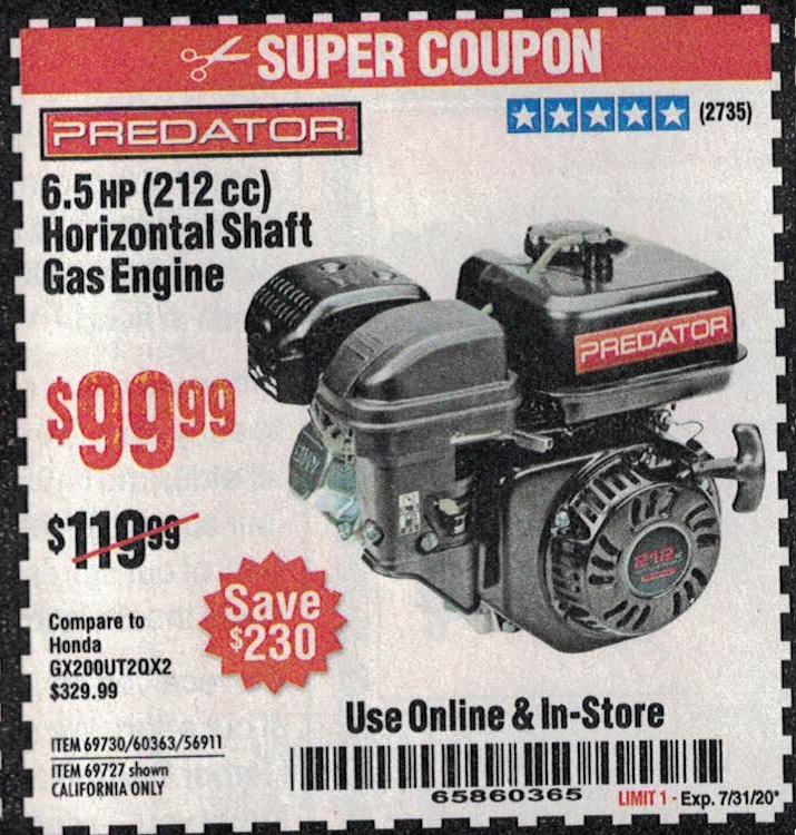 Harbor Freight 10PCT OFF ANY PREDATOR GAS ENGINE coupon