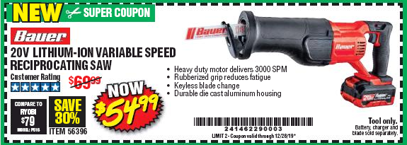 Harbor Freight 20V LITHIUM-ION VARIABLE SPEED RECIPROCATING SAW WITH KEYLESS CHUCK coupon