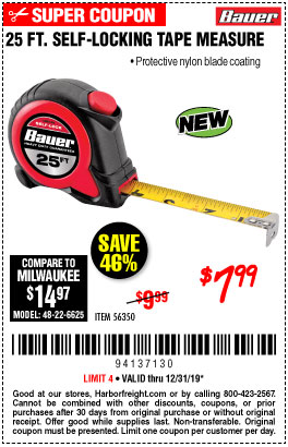 Harbor Freight 25 FT. SELF-LOCKING TAPE MEASURE coupon