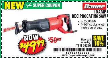 Harbor Freight BAUER 10 AMP VARIABLE SPEED RECIPROCATING SAW coupon