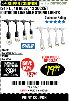 Harbor Freight 24 FT., 18 BULB, 12 SOCKET OUTDOOR LINKABLE STRING LIGHTS coupon