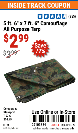 "www.hfqpdb.com - 5 FT. 6"" X 7 FT. 6"" CAMOUFLAGE ALL PURPOSE/WEATHER RESISTANT TARP Lot No. 61763, 46410"