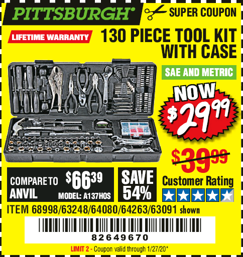 www.hfqpdb.com - PITTSBURGH 130 PIECE TOOL KIT WITH CASE Lot No. 68998/63248/64080/64263/63091