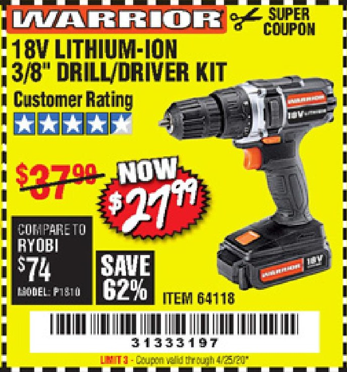 "Harbor Freight 18 VOLT LITHIUM-ION CORDLESS 3/8"" DRILL/DRIVER KIT coupon"