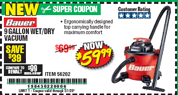 Harbor Freight BAUER 9 GALLON WET/DRY VACUUM coupon