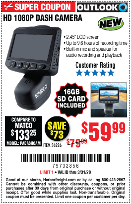 Harbor Freight OUTLOOK HD 1080P DASH CAMERA  coupon