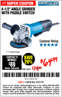 "www.hfqpdb.com - HERCULES 4-1/2"", 11 AMP PROFESSIONAL ANGLE GRINDER WITH PADDLE SWITCH Lot No. 56459"