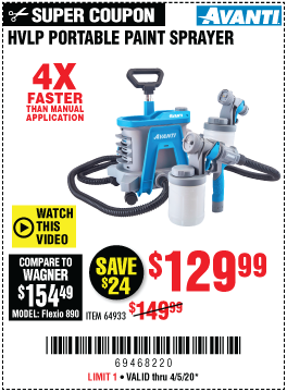 Harbor Freight AVANTI HVLP PORTABLE PAINT SPRAYER coupon