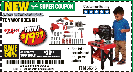 Harbor Freight TOY WORKBENCH coupon