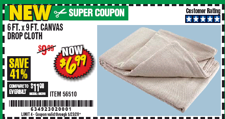 Harbor Freight 6FT. X 9FT. CANVAS DROP CLOTH coupon
